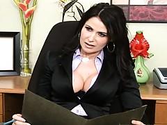 Big tits boss interviews an employee