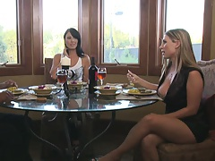 Two milfs decide to invite mr big dick for dinenr