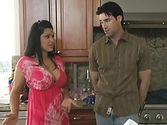Big tits Mommy in the kitchen seducing a virgin