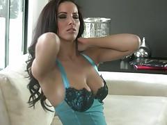 Nice babe Angel Dark taking off her lingerie and solo fucking sex toy