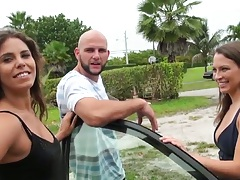 Money talks in public in a group checking out slut with no panties