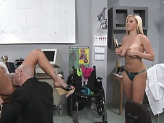 Mason spreads wide in the doctors chair for deep fuck