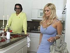 Busty blonde hottie needs a fireman to put out her fire