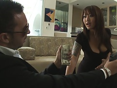 Hot asian landord hottie sucks off tenant to pay the rest