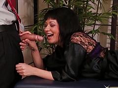 Asian hottie sucks penis