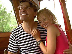 Teenie receives a sticky creampie on a boat