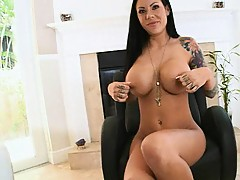 Mason Moores big tits get oiled and ass cheeks spread