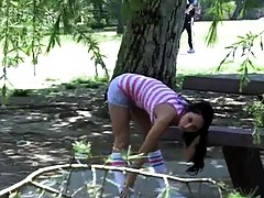Sexy babe gets publicly violated at the park working out