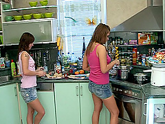 Brunette lesbian girls using their big toys