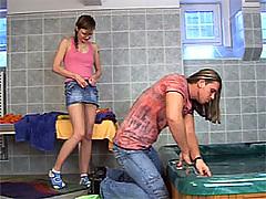 Sweet bathtub teen penetrated deep and hard