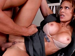 Two clothed females get fucked and suck cock