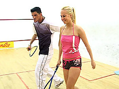 Teenage blonde gets cock after some squash