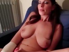 Big tits Brandon Areana masturbating then pov blowjob with close up