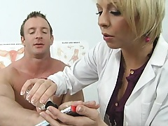 Crazy guy needs a doctor to unglue dick from his hand