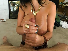 Hand job and ball work with big tits