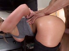 Doggy style bent over standing entry for blonde anal lover Phoenix Marie