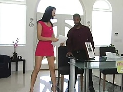 Brunette milf goes into black dudes pants