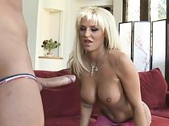 Blonde Brooke sucks in a big hard dick