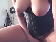 Spreading shaved pussy and hardcore fucking solo dildo