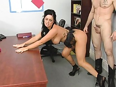 Chick has to bend over for the boss and let him fuck her