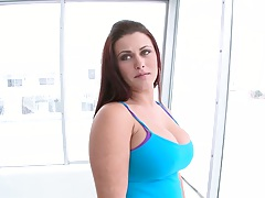 Solo big tits Carmen Ross shows her round ass