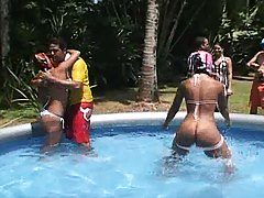 Hot babes wrestle some cocks in pool