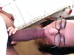 Hot cutie sucking off a huge black cock