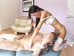 Nice shaved pussy and ass get oiled and penetrated