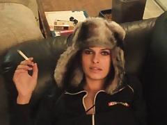 Sexy girlfriend in a huge winter hat