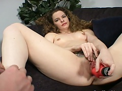 Dildo sitting and fucking with Lauren touching herself