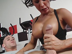 Lezley Zen sucks cock and gives a nice titty fuck