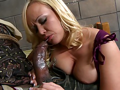 Hot blonde milf with exposed tits sucks black cock