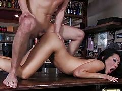Asian chick gets nailed on the bar table