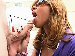 Sexy brunete sucks cock in her sunglasses