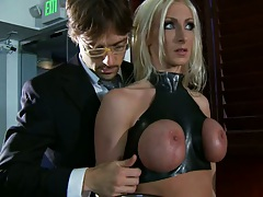 Hot latex babe gets tits squeezed