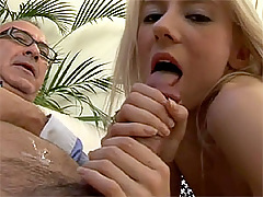 Blonde British girl sucking old man for cum