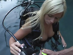 Blonde slut Angelina practices scuba diving naked