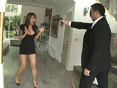Asian hottie forces tenant to fuck for rent