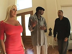 Hot milf in a tight red dress meets her black dick friend