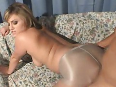 Doggy style Alexis Devine fuck with ripped pantyhose on pussy hole