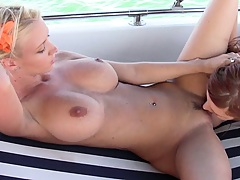 Molly and her busty friend kiss and eat leaking pussy
