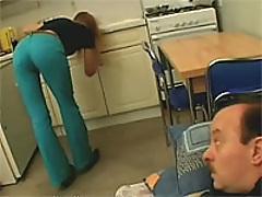 Teen girl giving a senior a sloppy blowjob