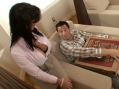 Pizza delivery blowjob with fully clothed Sienna West