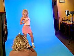 Teasing blonde teenie shows her tight body