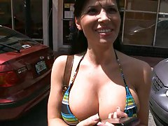 Big tits babe Rebecca Linares on bangbus