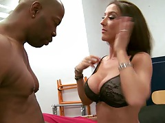 Hot milf gets nipples licked and sucks black cock