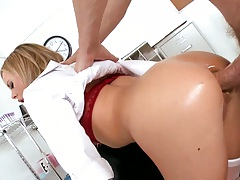 Bree Olson takes it up the asshole in an anal nurse fuck