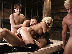 Group fucking with oiled up asses