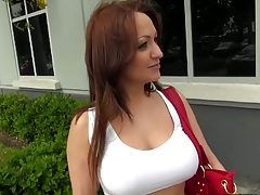 Milf in tight shirt outdoors