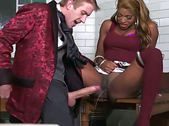Half dressed ebony hottie Jasmine Webb gets a large white cock and squirts